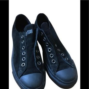 Converse all star leather slip on sneakers