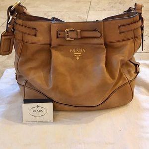 Prada Leather Brown Tote Bag