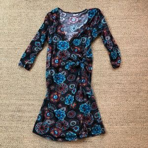 Nordstrom Floral Kaleidoscope Wrap Dress S