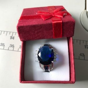 Jewelry - Blue SAPPHIRE & Clear CZ Ring Size 8