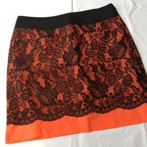 NEW The Limited Orange & Black Lace Overlay Skirt