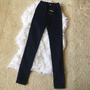 Missguided Indigo High Waist Skinny Jeans