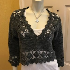 Anthro Gray Cropped Sweater by Knitted & Knotted