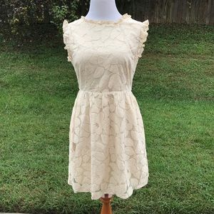 Tulle Dress M Beige Floral Fitted Skirt Flare Knee