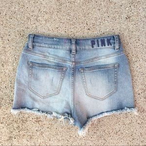 VS PINK High Waisted Light Wash Faded Jean Shorts