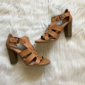"Tan Strappy 3"" Heeled Sandals"