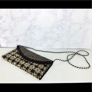 Hand Made Beaded Gold & Black Clutch