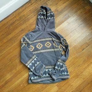 Fleece tribal print hoodie