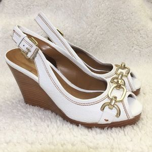 Zara White Wedge Shoes