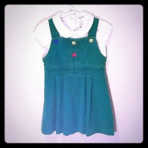 Vintage Corduroy Dress with Heart Buttons & Top 4T