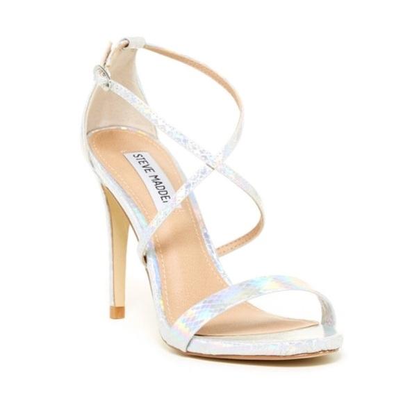 856fcdf50a8 Steve Madden Floriaa Heel Sandal in Silver Metal