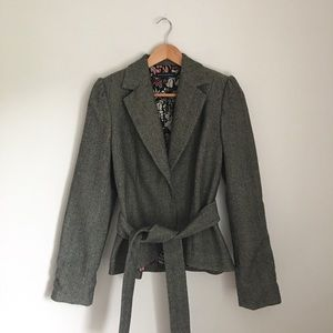 Banana Republic Wool Herringbone Belted Jacket