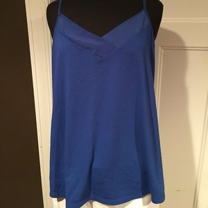 Blue and black cami's with satin v neck