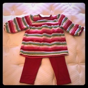 Carter's Red Striped Fleece Shirt and Red Leggings