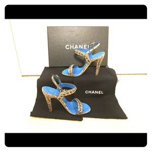 Chanel Brown Blue Python Leather Chain Sandal 34.5