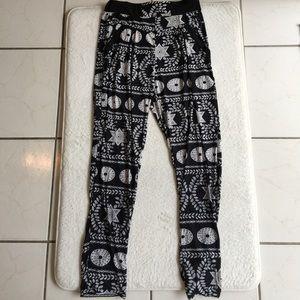 Pants - Black White Printed Knit Jersey Pants