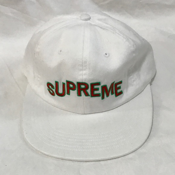Supreme stepped arc logo 6 panel white hat cap ba59df34f71