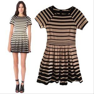 TIBI Striped Knit Dress sz 2 Pleated A-Line Skirt