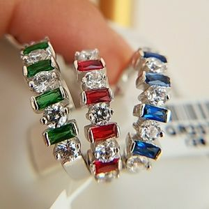 Red, Green, Blue, cubic zirconia Wedding Band