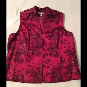 Silky red vest with Asian-inspired stitching