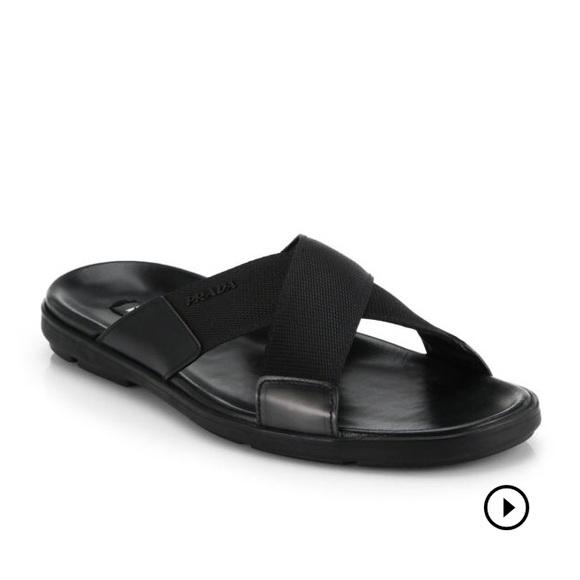 e68a9e90b4ef Prada Mens Nylon CrissCross-strap Sandles Size 8. M 59de68caf0137d9c6802fa9f