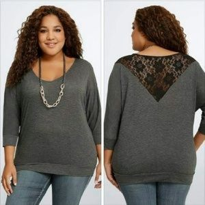 BNWT TORRID Lace inset 3/4 Sleeve Top