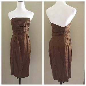 SHINY BROWN STRAPLESS DRESS