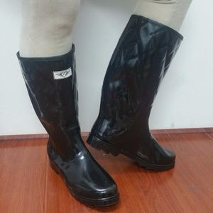 Women Tall Quilted Rain Boots, #1411, Black