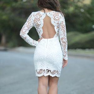 Gorgeous White Crochet Overlay Dress