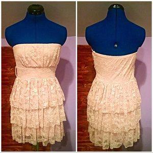 Deb Light Pink Lace Ruffled Dress