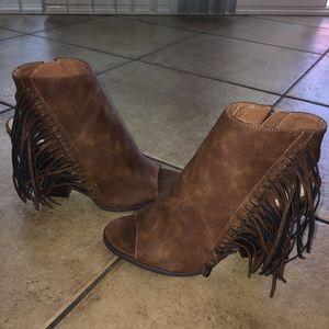 Cathy Jean Leather W/ Fringe Open Heels