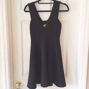 Sage black textured fit and flare dress