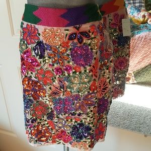 Anthropologie Mauve beaded sequin party skirt