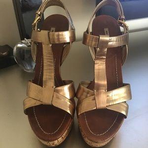 Authentic Miu Miu bronze heels