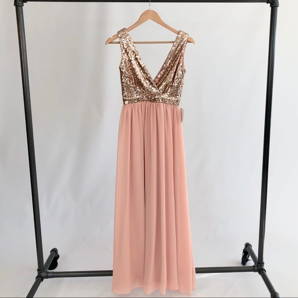 Lulu's Dresses & Skirts - Rose Gold Sequin Maxi Dress