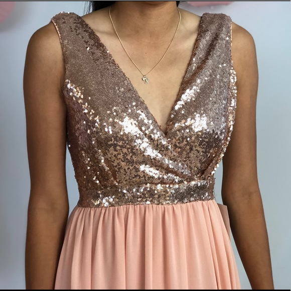 Lulu's Dresses - Rose Gold Sequin Maxi Dress