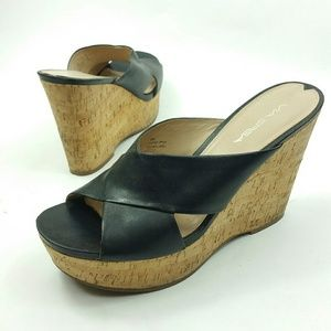 Via Spiga leather slide on wedge black size 10