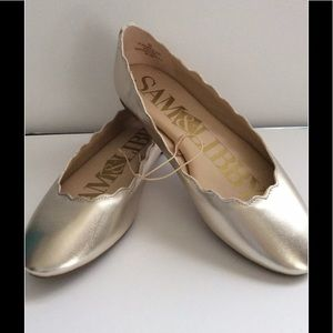 Sam & Libby Gold Scalloped Ballet Flats-NWOT