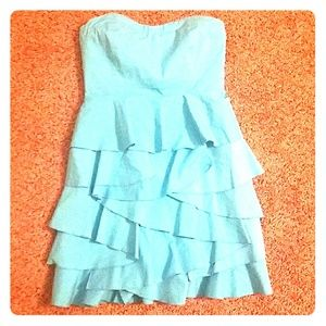 New York and Co Blue Strappless Ruffle Dress Sz 6