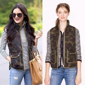 J. Crew Excursion Quilted Vest in camo green XXS