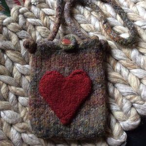 <3 LOVE HEART Soft Wool Phone Purse Bag