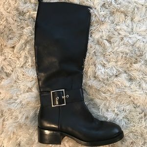 Zara Knee high leather black boots
