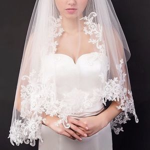 Accessories - Quality Double Layer Flower White Lace Bridal Veil