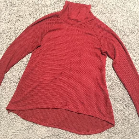 Sans Souci Sweaters - Dark Burgundy Slouchy Turtleneck Sweater