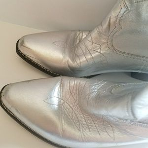 Shoes - Metallic Silver Cowgirl Boots