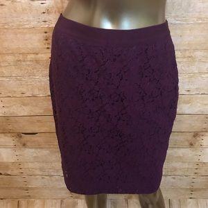J.Crew The Pencil Skirt Purple Lace Size 4