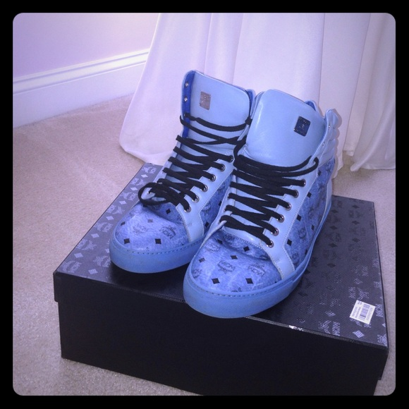 97cdd87a265 MCM Shoes | Blue Classic Visetos Mens High Top Sneakers | Poshmark