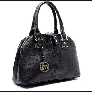 Handbags - Black Ostrich Multi Compartment Satchel