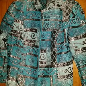 Beautiful aqua blue and black blazer