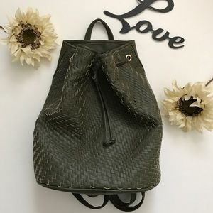 NWT-Deux Lux Olive Green Weaved Backpack